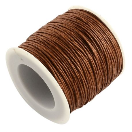 Waxed cotton cord, brown 1.00 mm