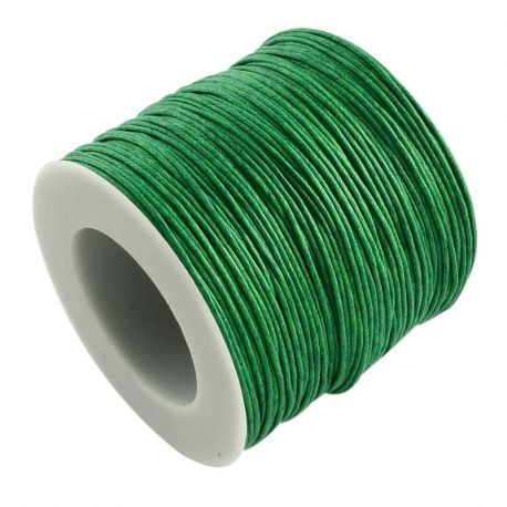 Waxed cotton cord, green 1.00 mm
