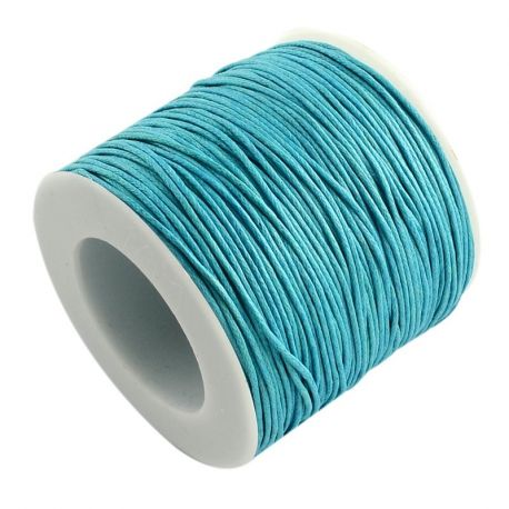 Waxed cotton cord, blue 1.00 mm