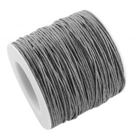 Waxed cotton cord, grey 1.00 mm