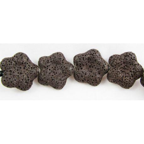 Lava beads brown flower shape 26 mm