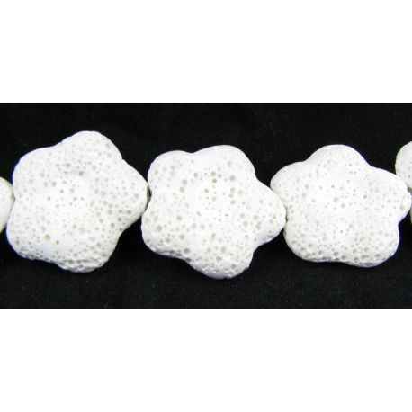 Lava beads white flower shape 26 mm