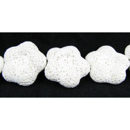Lavos karoliukai baltos spalvos gėlytės formos 26 mm