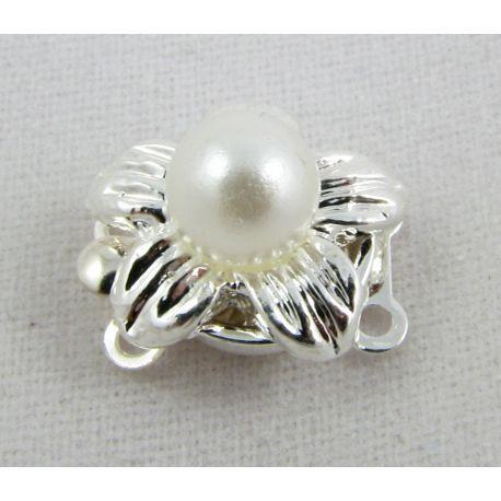 Kaklarota ar pērļu sudraba zieda formu 11x12x10 mm