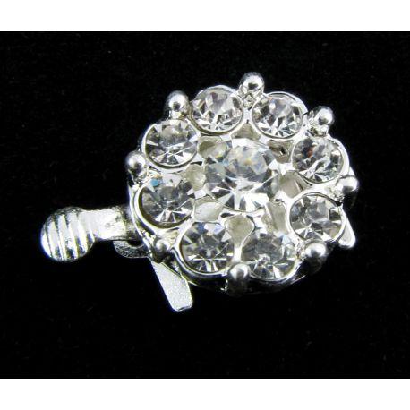 Vėrinio užsegimas su akutėmis sidabro spalvos gėlytės formos 15x16x8 mm