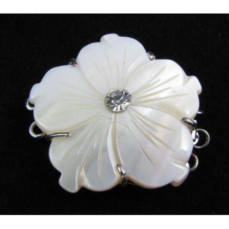 Korpusa aizdare ar SHELL pērļu ziedu sudraba trīsrindu aizdari 32x32x8 mm
