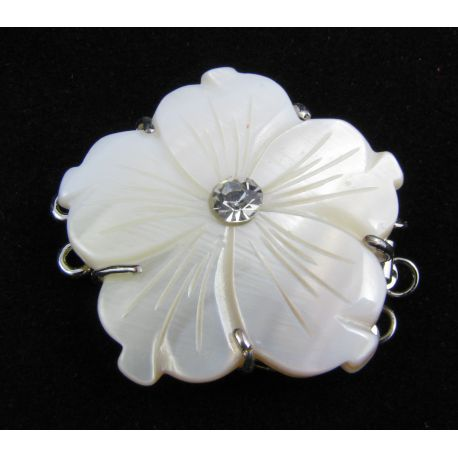 Shell clasp with SHELL pearl flower silver three-row clasp 32x32x8 mm