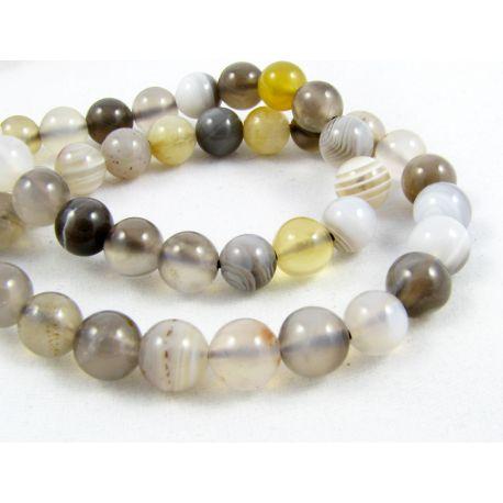 Botswana agate beads white - gray - brown round shape 6 mm