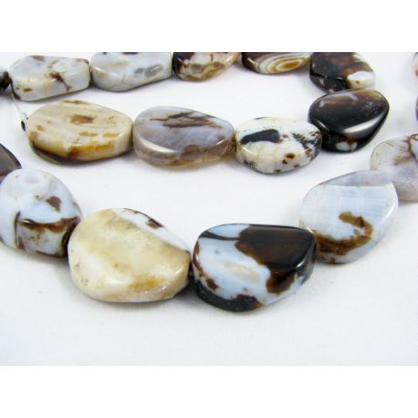 Agate beads white - brown - black mottled oval-lowered edges 20x16 mm