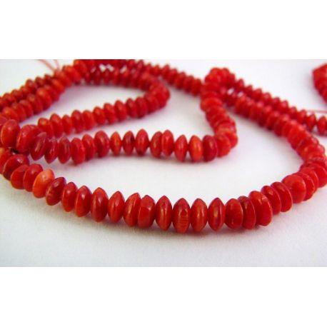 Koralo karoliukai raudonos spalvos rondelės formos 3x5mm