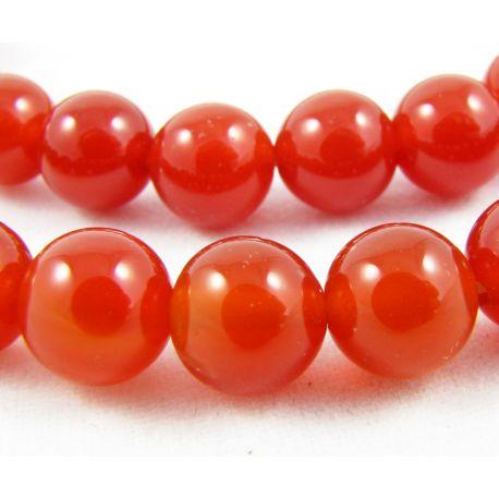 Agato karoliukai oranžinės - raudonos spalvos apvalios formos 8 mm
