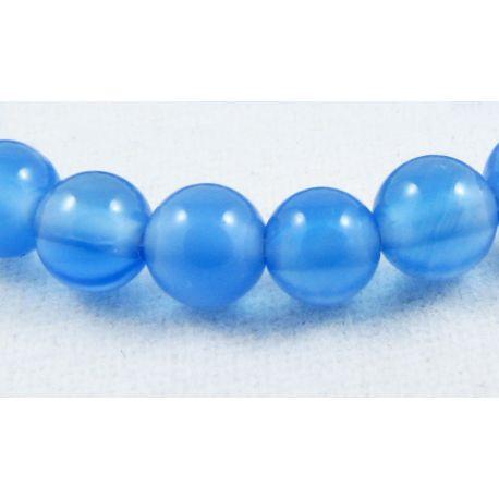 Agato karoliukai mėlynos spalvos apvalios formos 4 mm
