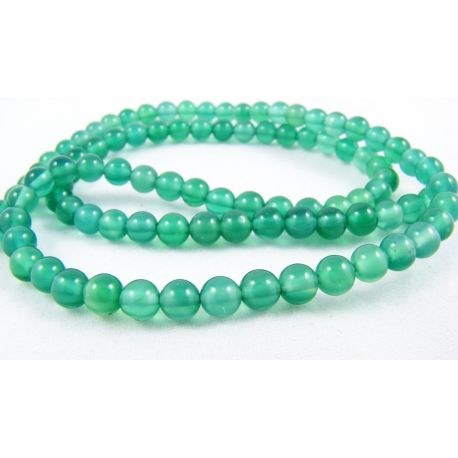 Agato karoliukai žalios spalvos apvalios formos 4 mm