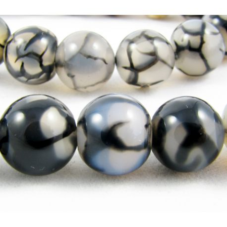 Agate beads black - gray round shape 10 mm