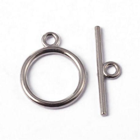 Rod clasp, nickel color 15 mm, 1 dial