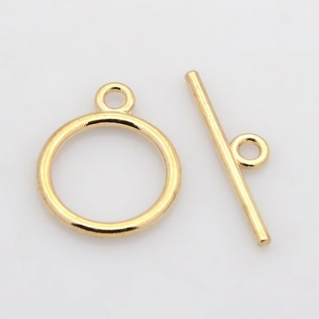 Rod clasp, pink gold color 15 mm, 1 dial