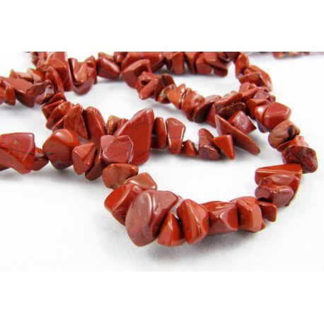Jaspio skaldos gija tamsiai raudonos spalvos 6 - 8 mm gijos ilgis 44 cm