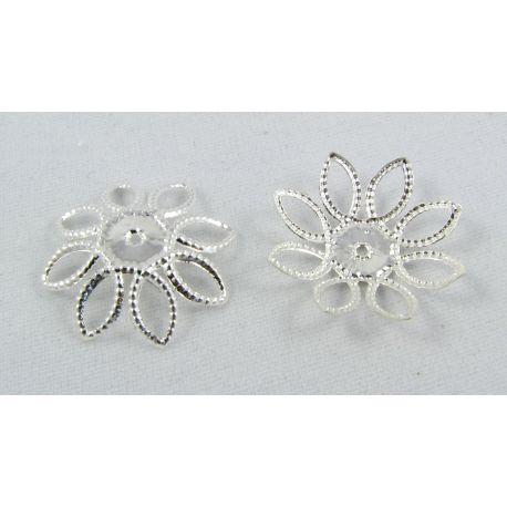Шапка предназначена для ювелирного производства в цвете серебро 21x21x5 мм.