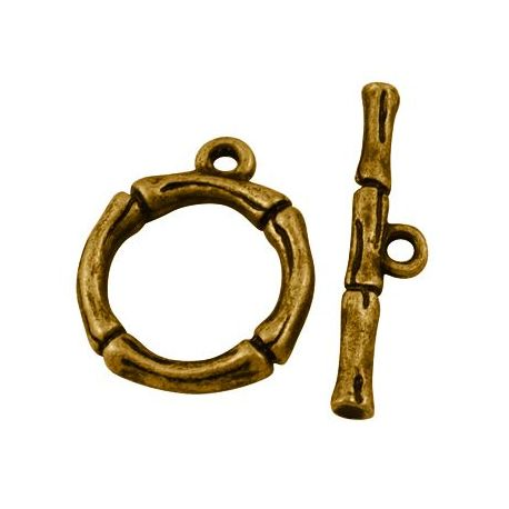Necklace clasp, aged gold with rod, 21x17 mm