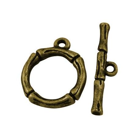 Necklace clasp, aged bronze with rod, 21x17 mm