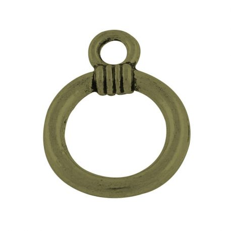 Necklace ring, aged bronze, 16x12 mm