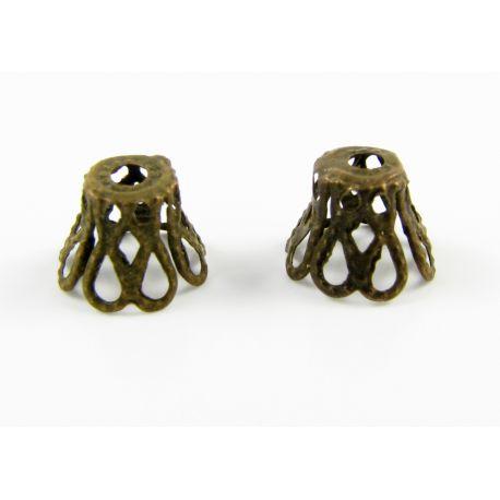 Шапка предназначена для ювелирного производства цвета состаренной бронзы 8х6мм.