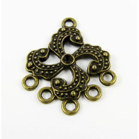 Paskirstytojas - skirtas papuošalų gamybai sujungti elementus bronzinės spalvos 24,5x30,5mm