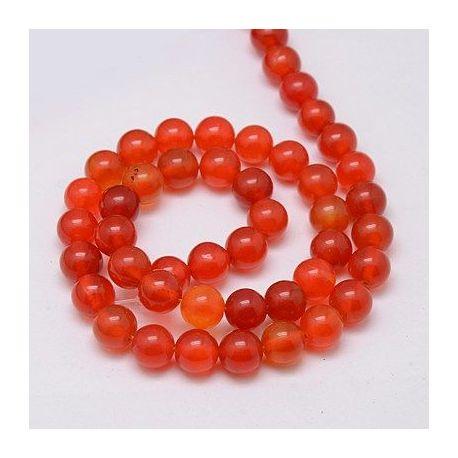 Agato karoliukų gija, raudonai oranžinės spalvos, margi, dydis 8 mm