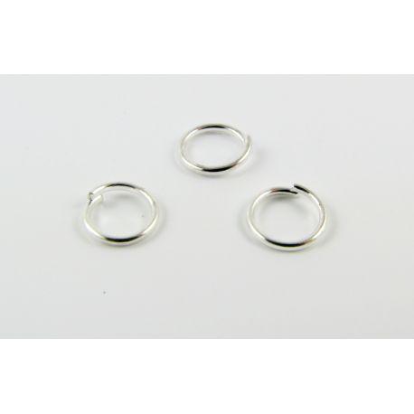 Viengubi skirti papuošalų gamybai žiedeliai sidabro spalvos 6mm