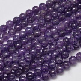 Натуральная бусина Аметист, темно-пурпурная, размер 8-9 мм, 1 нить