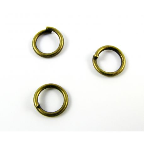 Single rings for jewelry making aged bronze color 7x7mm