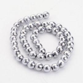 Synthetic hematite beads 8 mm, 6 pcs.
