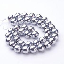 Sintētiskas hematīta pērles 10 mm, 4 gab.