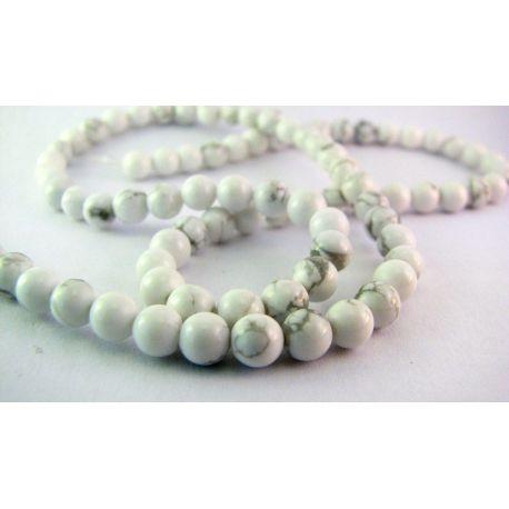 Houlito karoliukai baltos - pilkos spalvos apvalios formos 4mm