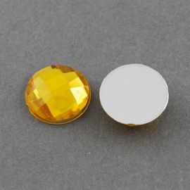 Acrylic cabochon, yellow with foil, coin shape 20 mm
