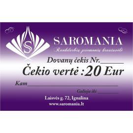 Padovanokite savo antrai pusei dovanų čekį, kurio vertė net 20 Eur. Čekį galite panaudoti tik perkant internetu.