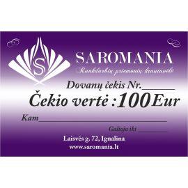 Padovanokite savo antrai pusei dovanų čekį, kurio vertė net 100 Eur. Čekį galite panaudoti tik perkant internetu.