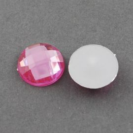 Acrylic cabochon, pink with foil, coin shape 20 mm