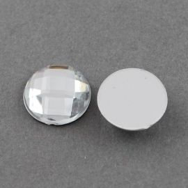 Acrylic cabochon, clear with foil, coin shape 20 mm