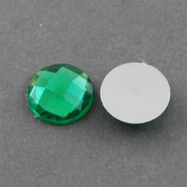 Acrylic cabochon, green with foil, coin shape 20 mm