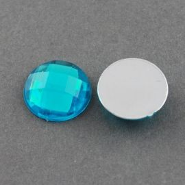 Acrylic cabochon, blue with foil, coin shape 20 mm