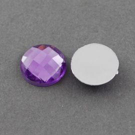 Acrylic cabochon, purple with foil, coin shape 20 mm