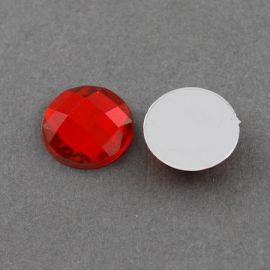 Acrylic cabochon, red with foil, coin shape 20 mm