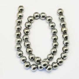 Synthetic hematite beads 10 mm, 6 pcs.