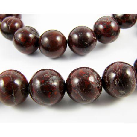 Stone beads dark brown – red round shape 8 mm