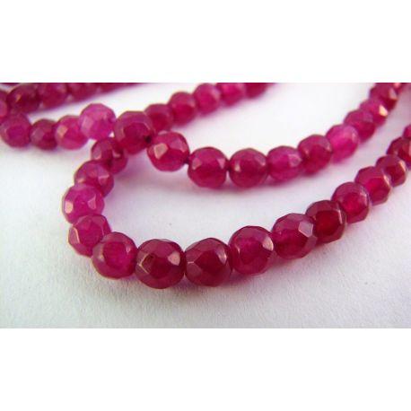 Rubino karoliukai violetinės spalvos briaunuoti apvalios formos 4mm