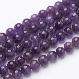 Nat.Amethist bead thread, transparent purple, size 10 mm