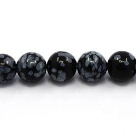 Natural Snow Obsidian Bead Thread 8 mm