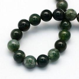 Natural Moss Agate Bead Thread 8 mm