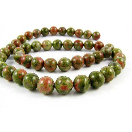 Unakito bead thread green - pink round shape 8 mm